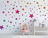 Wandtattoo Sterne mit Farbverlauf fürs Kinderzimmer - 75 Wandsticker Set - Pastell Farben für Baby Sternenhimmel zum Kleben Wandaufkleber Sticker Wanddeko - Wandfolie für Kleinkinder Erstausstattung