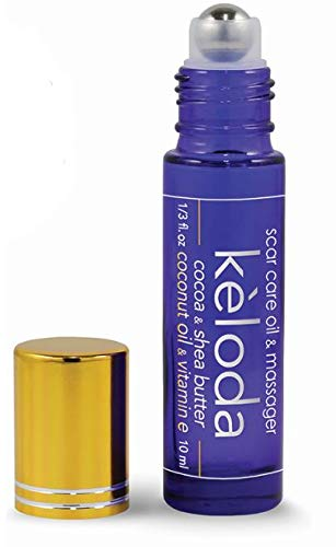 KELODA Scar & Keloid Removal Oil & Massager, 0.3 oz   For Treatment of Surgical Scars & Piercing Keloids, Acne, Stretch Marks & Burns   With Cocoa & Shea Butter, Coconut, Lavender Oils & Vitamin E