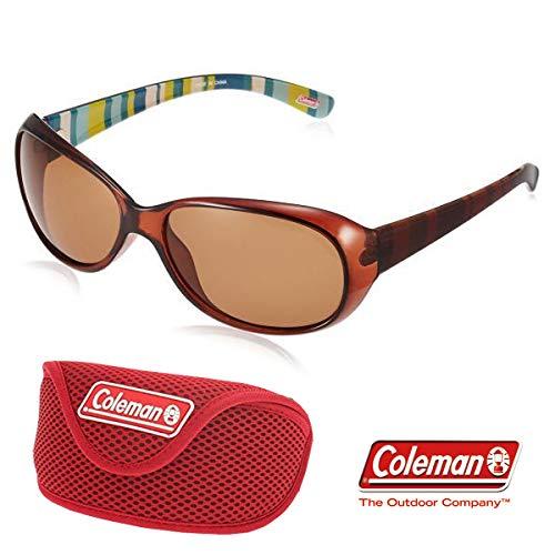 【レッドソフトケース付】レディース Coleman コールマン 偏光サングラス ブラウン ドライブ ストライプ柄 おしゃれ Coleman CLA01-2