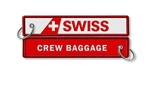 Swiss Airlines Crew Baggage Embroidered Keyring