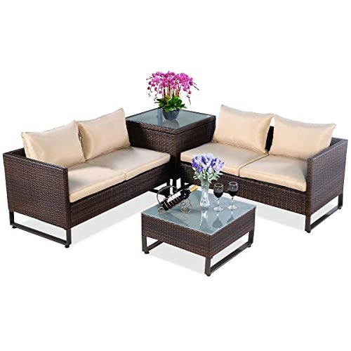 TANGKULA Patio Furniture Set 4 Piece, Outdoor Wicker Rattan Sectional Sofa Set with Storage and Coffee Table, Suitable for Lawn, Backyard, Balcony, Wicker Conversation Set