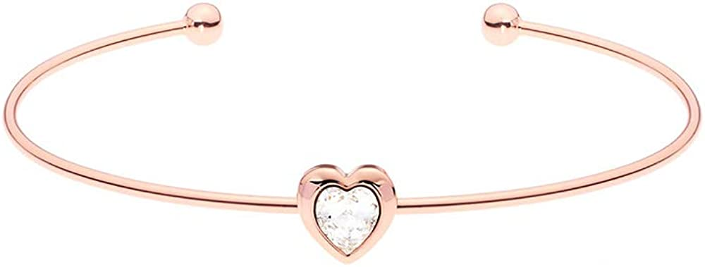 Ted Baker Hasina Crystal Heart Ultra Fine Cuff - Silver or Rose Gold Tone Options