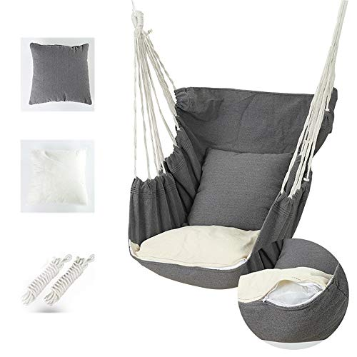 Hammock Swing Chair Rocking Chairs Hanging Tree Seat Swinging Cloth Chair Hanging Fabric Swing Chair Bedroom Indoor and Outdoor for Adult Kids Girl Boy with 2 Cushions,gray
