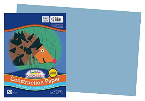 SunWorks Construction Paper, Sky Blue, 12' x 18', 50 Sheets