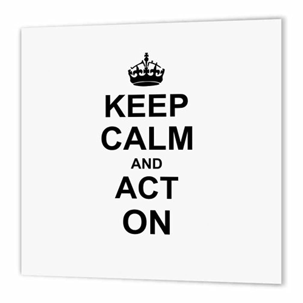 3dRose Keep Calm and Act on - Humorous Gift for an Actor Actress Acting Coach or Theater Drama Teacher - Iron on Heat Transfer, 10 by 10-Inch, for White Material (ht_157632_3)