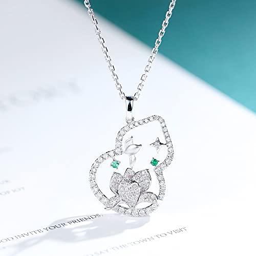 JIUXIAO Creativo Vintage Lotus Colgante Collar 925 Plata Esmeralda Cz Calabaza Colgantes Encanto Cadena Corta para Mujer Estilo joyería Fina