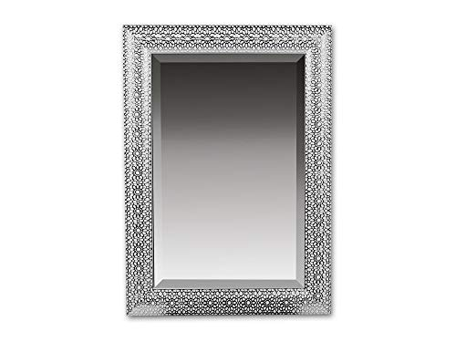 Formano Wandspiegel aus weiß-lackiertem Kunststoff gefertigt, Höhe: 70 cm, Breite: 50 cm, Weiß-Silber, 1 Stück