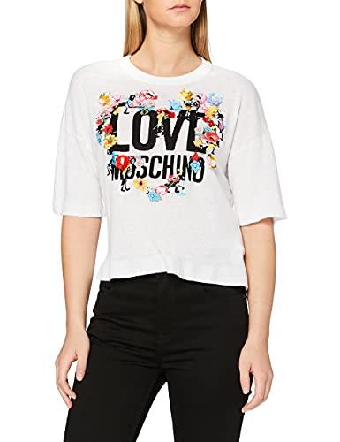 Love Moschino Damen Multicolored Flowers and Logo_Knitted T-Shirt, Weiß (Optical White A00), 40 (Herstellergröße: 44)
