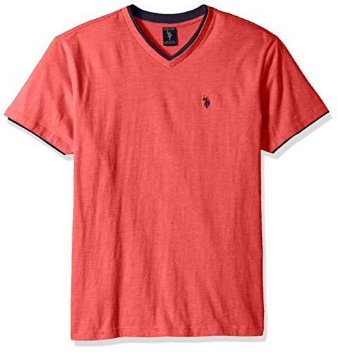 U.S. Polo Assn. - Camiseta con cuello en V para hombre, playera con cuello en V y doble tirante., L, Jaspeado verde jade