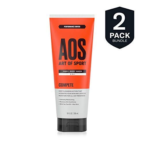 Art of Sport Men's Body Wash with Tea Tree Oil and Aloe Vera, Compete Scent, Dermatologist-Tested, Paraben-Free, Hypoallergenic, Moisturizing Shower Gel (2 pack)