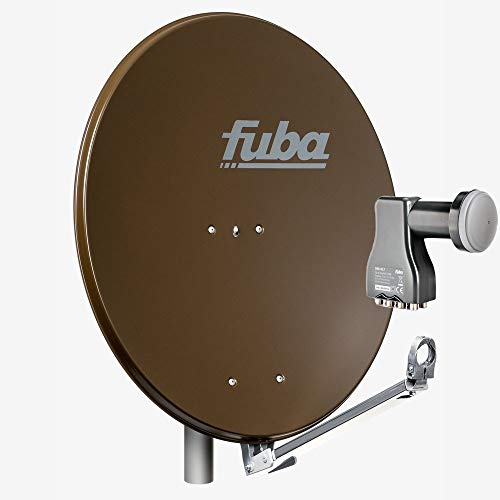 Fuba 8 Teilnehmer Sat Anlage DAL 808 B | Sat Komplettanlage mit Fuba DAL 800 B Alu Sat-Schüssel/Sat-Spiegel braun + Fuba DEK 817 Octo LNB für 8 Receiver/Teilnehmer (HDTV-, 4K- und 3D-kompatibel)