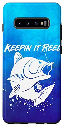 Galaxy S10+ Bass Fish KEEPIN IT REEL Fishing Retro Vintage Distressed Case