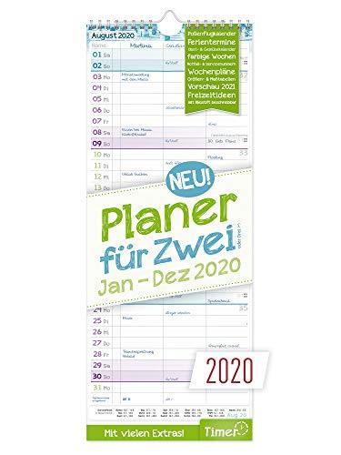 Planer für Zwei 2020 Wandkalender mit 3 Spalten | Paarkalender Januar - Dezember 2020 | Wandplaner Maße: 17 x 42 cm, Chäff-Timer inkl. Ferientermine, viele Zusatzinfos + Vorschau bis März 2021