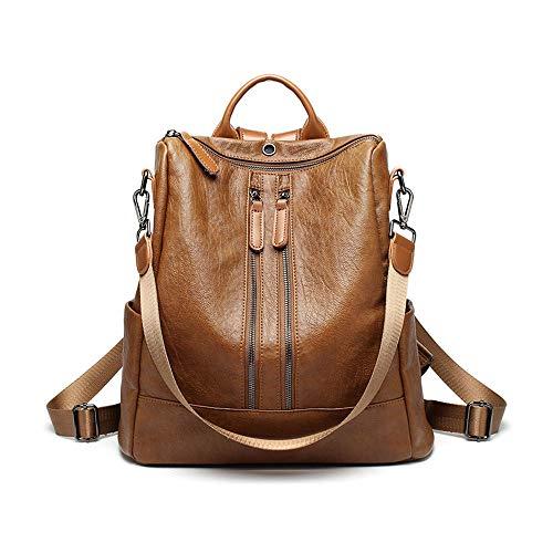 Women Leather Backpack Casual Shoulder Bag Purse Convertible Daypack Designer Travel Rucksack, Brown