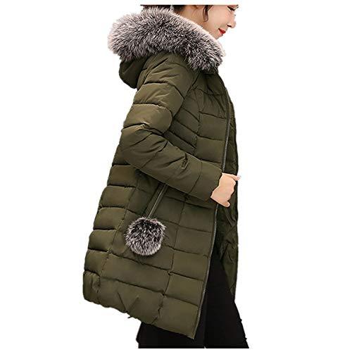 Winter Klassisch Daunenjacke Damen Warme Mantel Frauen Lange Dicke Pelzkragen Baumwolle Parka Slim Jacke FRAUIT Zipper Einfarbig Warm Jumper Top Outwear Bluse (L, T-Armeegrün)