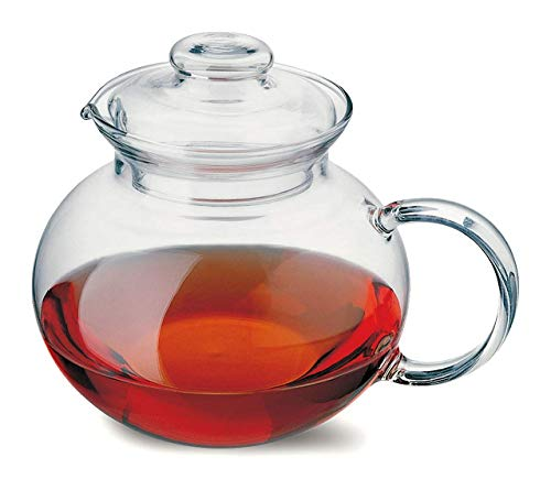 Simax Glassware Teapot | Microwave and Stovetop Safe, Heat, Cold, and Thermal Shock Resistant Borosilicate Glass, Makes a Stunning Presentation (1-Quart)