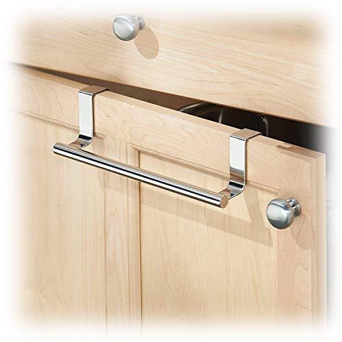 Flow.month Over Cabinet Towel Holder - Hang on Inside or Outside of Doors, Storage for Hand, Dish, Tea Towels - Over The Door Towel Rack (Long)