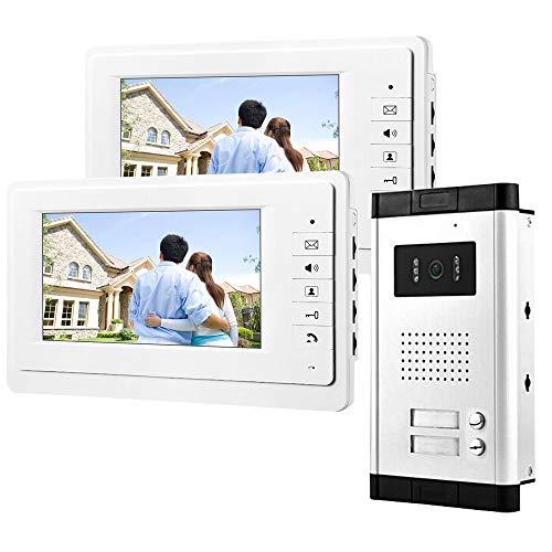 uoweky Sistema de Timbre de Puerta de Intercomunicación con Video de 7 Pulgadas Doorphone para el Hogar 2 Monitores IR Cámara de la Puerta Teléfono Impermeable Altavoz
