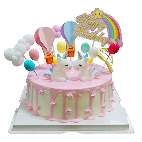BluVast Cake Topper Kit,Decorazione Torta Unicorno, Unicorno Palloncino Happy Birthday Topper Decorazione Torta per Bambini Ragazze Compleanno Baby Shower Party Set