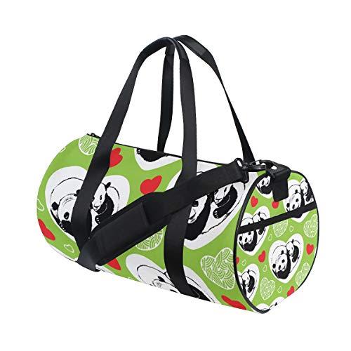 DEZIRO - Bolsa de deporte con diseño de panda durmiendo y corazones