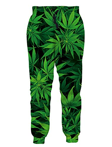 RAISEVERN Unisex Jogger Pants 3D Active Green Weed Leaf Graphic Novelty Casual Gym Trouser with Pocket for Men Women
