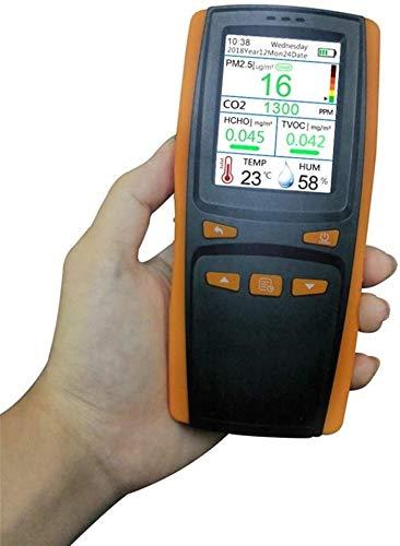Luftqualitätsmonitor,Formaldehyddetektor,multifunktionales Indoor-Verschmutzungsdetektor-Messgerät für Formaldehyd,CO2,PM2,5,TVOC,Temperatur- und Feuchtigkeitstest,Echtzeit-Lufttestkit mit buntem