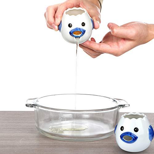 Ceramic Egg Separator Filter, Creative Chicken Yolk and Egg White Divider Strainer, Cute Egg Splitter Extractor for Baking, Small Household Kitchen Cooking Tool Gadget (blue)