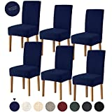 Joypea Dining Chair Covers Stretch Washable Removable Spandex Nonslip Chair Seat Protector Slipcover for Dining Room for Hotel, Dining Room, Ceremony, Banquet Wedding Party (Navy Blue, 6 Per Set)