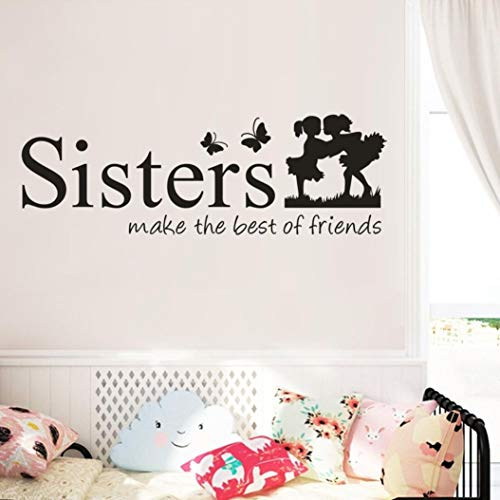 QHB Sisters Wake The Best of Friends Wall Stickers Decals Children's Room Home Decoration Art,Decorative Paper Murals for Home,Bathroom,Livingroom,Kids/Girls Bedroom,Nursey,Party Décor.