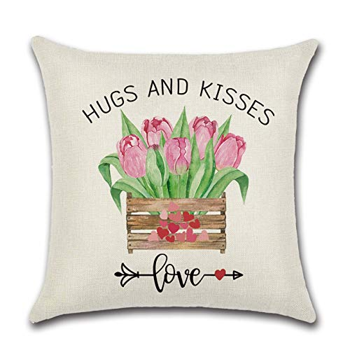 RUOXI 1pcs Fodere per Cuscini Fodere per CusciniPink Lovers Truck FlowersFedere per Cuscini Decorativi Decorazione di Nozze