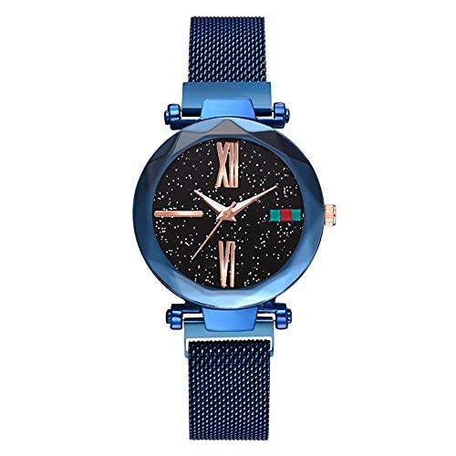 cloudbox Reloj de pulsera - Elegante reloj de pulsera de cuarzo con esfera redonda y correa de malla para hombres (azul)