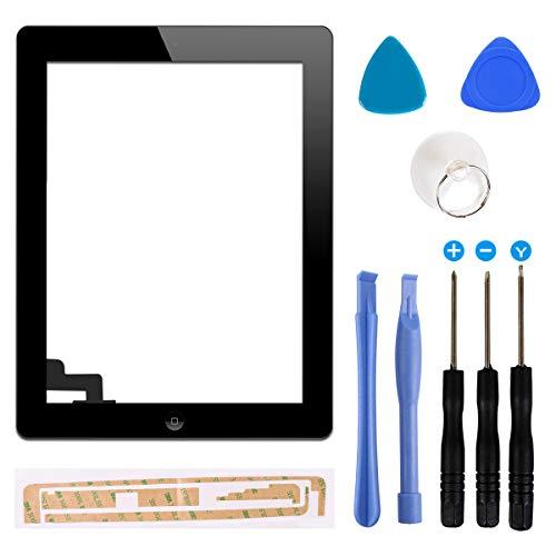FLYLINKTECH Touchscreen für iPad 2 Schwarz, LCD Display, Touchscreen, voller Front-Touchscreen Digitizer Glas Montage Reparatur Ersatzteile mit Home Button flexiblem Kabel und Werkzeuge