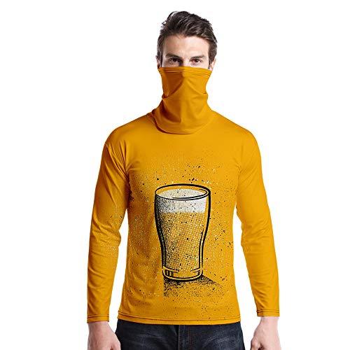 T-Shirt À Manches Longues,Casual Long Sleeve Imprimé Verre De Bière Jaune Col Rond Unisex T-Shirt Tops Imprimé Chemisier Body Shirt avec Écharpe Hommes Hommes Automne Hiver Pullover Sweatshirt,