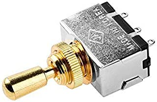JD.Moon Metal Electric Guitar 3 Way Box Toggle Switch For Les Paul With Brass Tip (Gold)