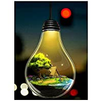 aksldf 新しい5DDiyダイヤモンド絵画クロスステッチ電球の家の風景フルスクエアドリル刺繡針仕事ラインストーンの家の装飾-30x45cmフレームなし