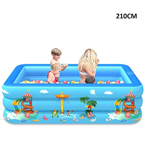 Family Pool, Aufblasbarer Planschbecken, Pool rechteckig für Kinder Erwachsene, blau