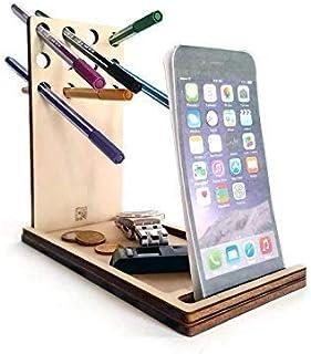 Portapenne da scrivania con stand per smartphone e portaoggetti in legno tagliato a laser personalizzabile pioppo Portapen...