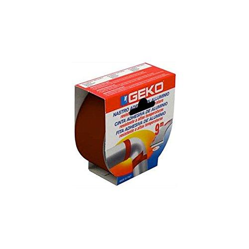 Geko Ruban adhésif en Aluminium résistant aux températures élevées mm 40 x 9 Metre Marron en boîte Ouverte