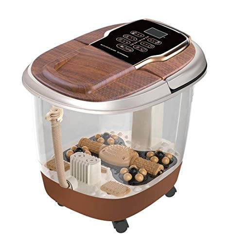 Review GHGJU Foot tub Massage Bucket Soaking Basin Home Foot tub Automatic Heating Basin Massage Foot tub Gift for Parents (Color : Brown)