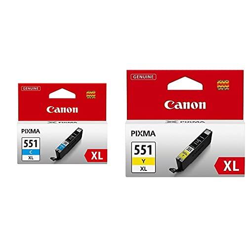 Canon CLI-551XL C Cartucho de Tinta Original Color Cian para Impresora de Inyeccion de Tinta Pixma + CLI-551XL Y Cartucho de Tinta Original Amarillo XL para Impresora de Inyeccion de Tinta Pixma