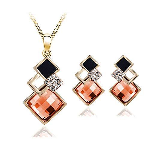 THTHT Fashion metalen halsketting oorbellen vrouwen sieraden geometrisch vierkant kristal acryl goud eenvoudige klassieke creatieve charme schattige overdreven cadeau champagne