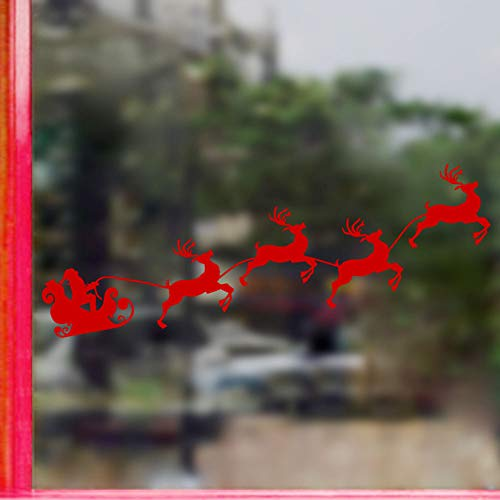 KEJIA Reno Rojo tirando de Santa Trineo Mapa de Viaje Etiqueta de la Ventana Etiqueta de la Pared