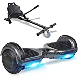 """TOEU Hoverboard with Seat Attachment, 6.5"""" Segway with Hoverkart, Built-in Bluetooth & Colorful Led Lights, Balance Board for Kids Gift"""