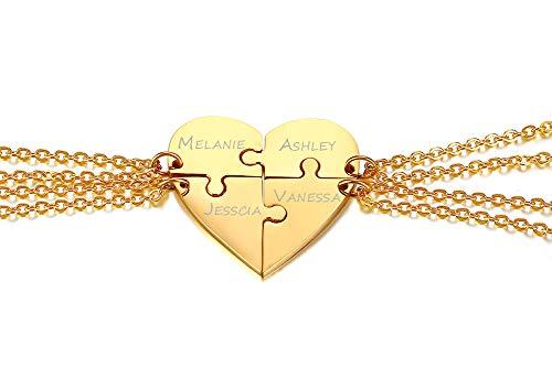 PJ JEWELLERY Personalisierte benutzerdefinierte Edelstahl passende Herz Puzzle 4-teilige Freundschaft Halskette Set für 4 für Beste Freundin oder Schwestern, Gold
