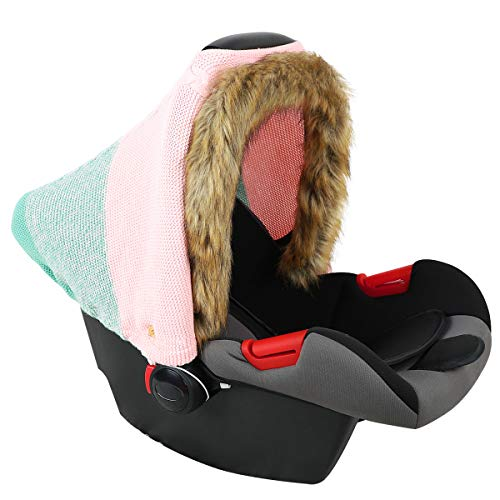 NCONCO Baby Car Seat Cover with Faux Fur Hem, Knitted Stretchy Breathable...