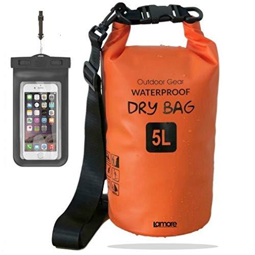 笑顔一番 新素材 防水バッグ ドライバッグ ドラム型 防水ポーチ付 5L 10L 20L 30L (2) オレンジ, 10L