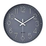jomparis Reloj de Pared Moderno,Grandes Decorativos Silencioso Interior Reloj de Cuarzo de Cuarzo Redondo No-Ticking para Sala de Estar,Panel Gris Marco Blanco, Funciona con Pilas,30 cm diámetro,