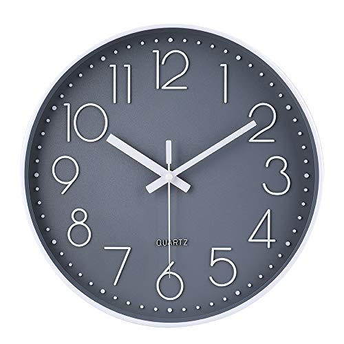 12 Inch Non-Ticking Wall Clock Silent Battery Operated Round Wall Clock Modern Simple Style Decor Clock for Home/Office/School/Kitchen/Bedroom/Living Room (Gray)