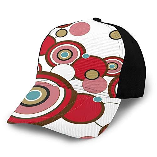 FULIYA Gorra de béisbol para papá de tamaño ajustable para correr entrenamientos y actividades al aire libre, abstracto, inspirado en círculos y anillos en varias formas, tamaños expresionista