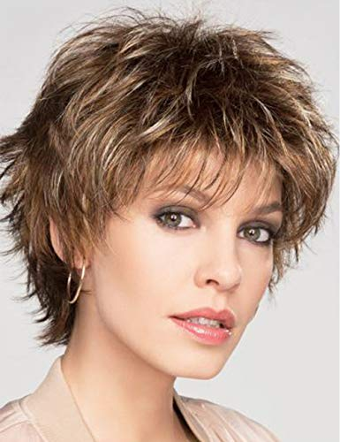 RENERSHOW Short Mixed Brown Highlight Wig with Bangs Pixie Cut Synthetic Wigs for White Women Layered Straight Curly Wig Natural Looking Daily Party Wig(30#/27#)